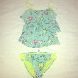 Justice girls green tankini swim set size 18